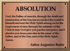 An example of Father Butler's laminated absolution card