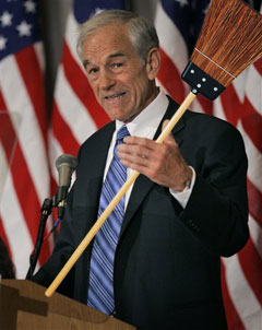 Republican presidential candidate Ron Paul and his broom.