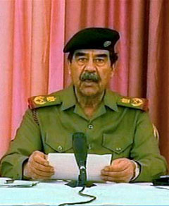 Deposed dictator Saddam Hussein thanking former president George W. Bush for inadvertently orchestrating his acquittal